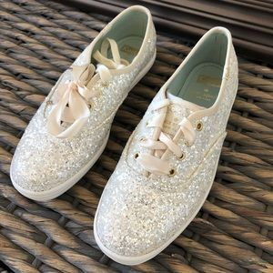 Keds For Kate Spade White Glitter - Size 6 1/2 M